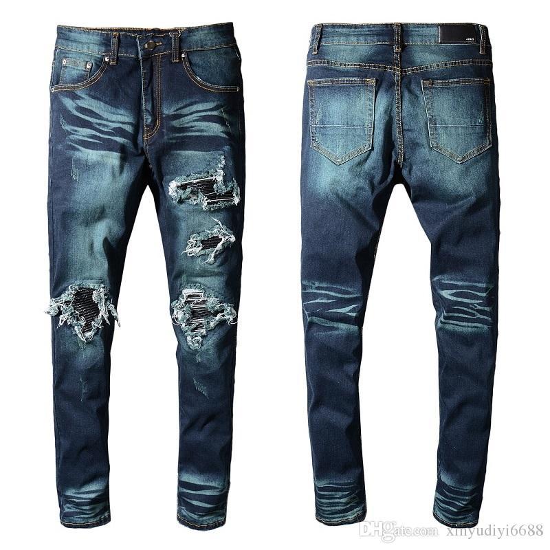 Acheter 2019 Nouvelle Arrivée Célèbre Marque Bleu Hommes Jeans Design De  Mode Déchiré Jeans Homme Plus La Taille Bonne Qualité Pantalon Hommes  Pantalons De ... 9d965bee753b