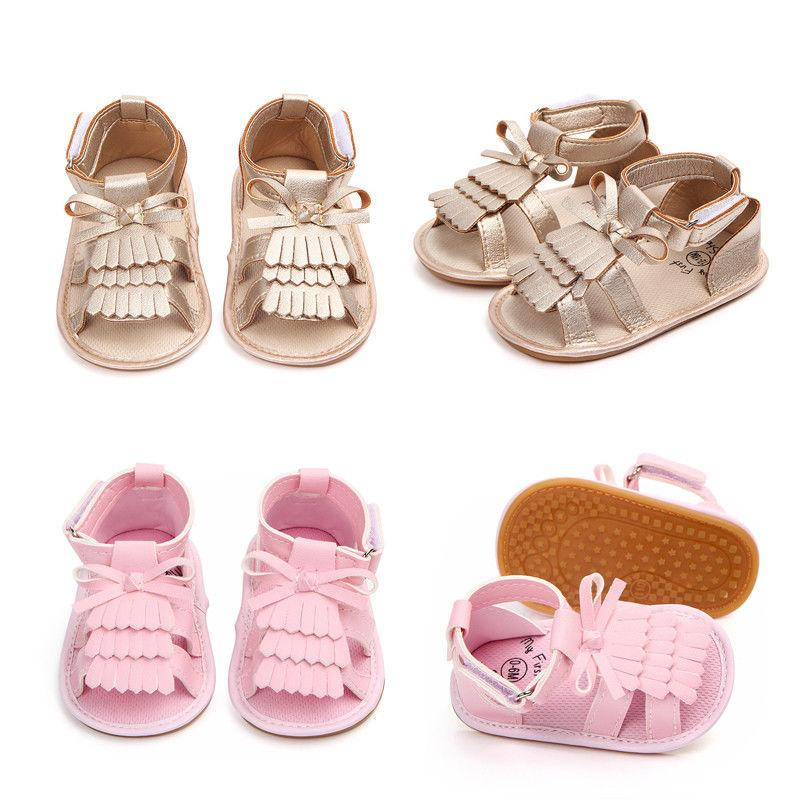 b02d767c8f36 Summer Toddler Baby Girls Boys Casual Shoes Sandal Shoes 0 18M Solid Bow  Hook Flat With Heel 2 Style Baby Cheap Childrens Trainers Kids Slippers  Boys From ...