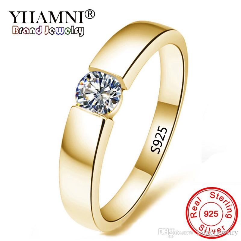 100% True Sterling Silver Prong Setting Solitaire Stud Engagement Wedding Fine Earrings Engagement & Wedding