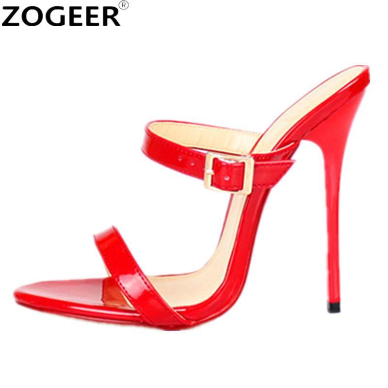 42b180c4f Compre Plus Size 48 Verão Gladiador Mulheres Sandálias Sexy 13 CM De Salto  Alto Chinelos Moda Vermelho Preto Branco Partido Sapatos Casuais Mulher De  ...