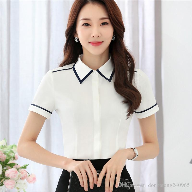 07c0d0cce3 Compre Estilos OL Formales Blusas Camisas Para Damas Oficina Ropa De  Trabajo Blusas Femeninas Blusas Ropa Femenina Elegante Blanco A  9.52 Del  ...