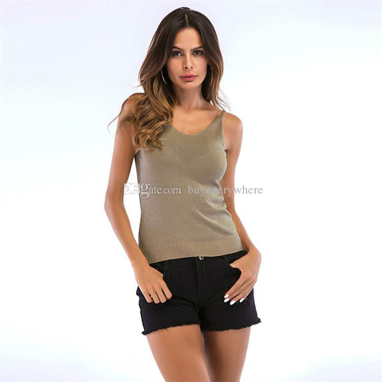 Summer Sexy Women Plain Camisole V Neck Silm Vest Camis Tank Top Tee