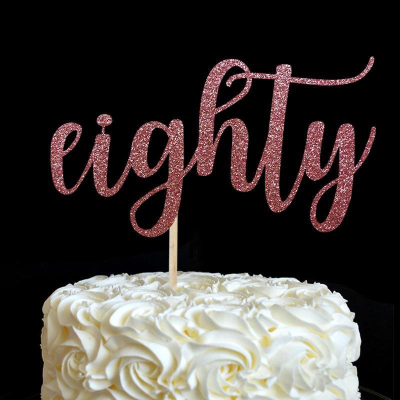 achtzig Cake Topper - viele Farben Glitzer 80. Geburtstag Dekor 80 Jahrestag Party Favors Dekorationen Zubehör Kuchen Zubehör