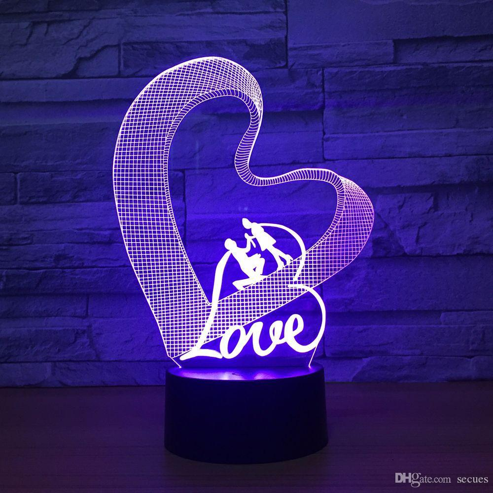 Love Heart 3D Optical Illusion Lamp Night Light DC 5V USB Powered 5th Battery Wholesale Dropshipping Free Shippin