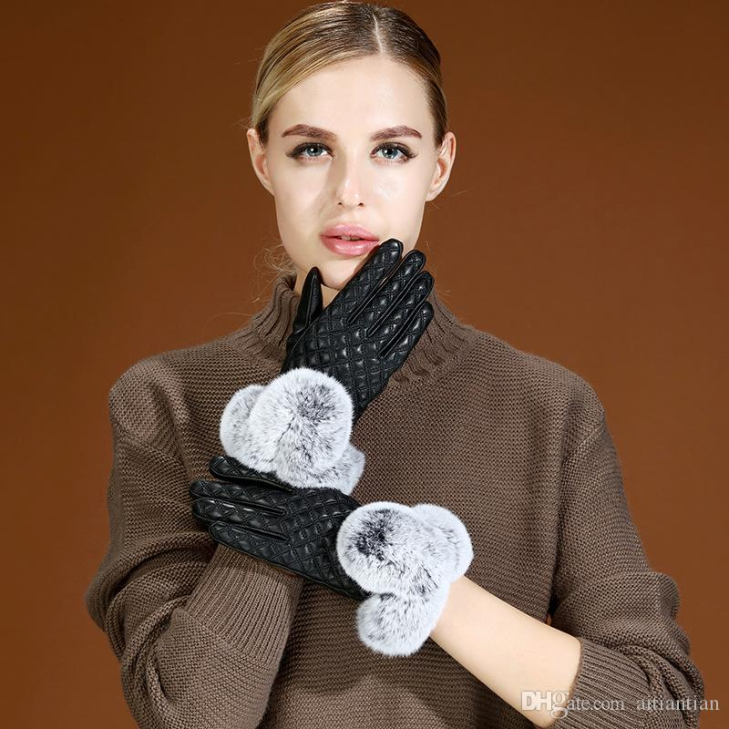 Yüksek kalite 2018 yeni sonbahar kış dokunmatik ekran eldiven doğal koyun cilt kalınlaşma yumuşak ve 100% hakiki deri eldiven