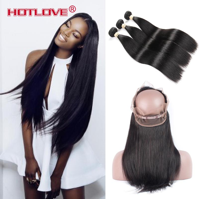 Pre Plucked 360 Lace Frontal with 3 Bundles Straight Brazilian Virgin Human Hair Weaves with 360 Frontal Closure 22*4*2  Total