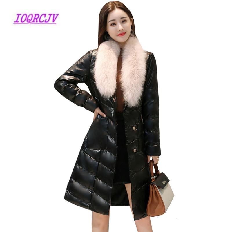 a02db10c4277 2019 Winter Women S Down Cotton Jackets Fur Collar Long PU Leather ...