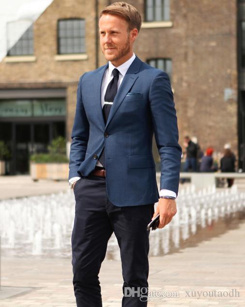 c8fbfb02b Satın Al Yeni Tasarımlar Lacivert Erkekler Suits Casual Blazer Slim Fit  Düğün Suits Damat Smokin Custom Made 2 Parça Terno Masculino Ceket +  Pantolon, ...