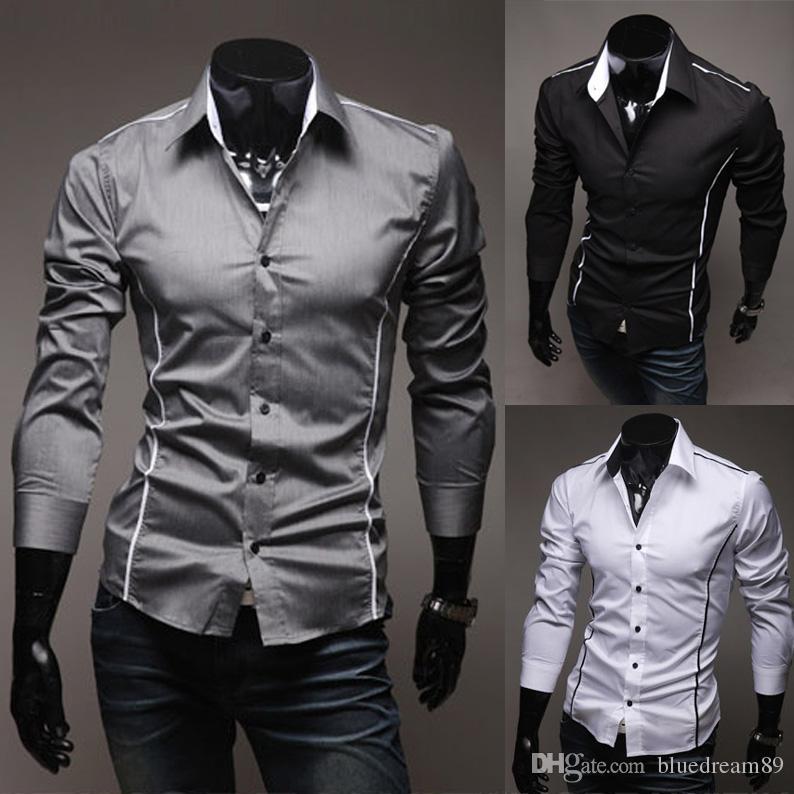 Compre Camisas Dos Homens Designer De Moda Listrado Camisa De Luxo Casual  Homens Africanos Roupas De Mangas Compridas Camisa De Marca De Luxo Homens  Roupas ... cea1493e95a