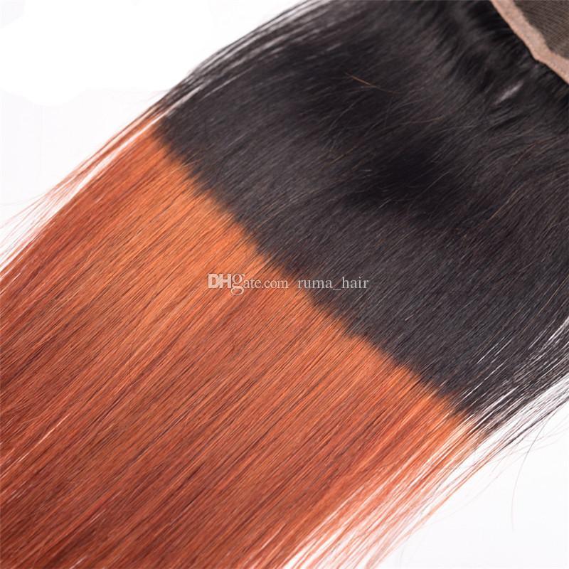 Paquetes brasileños de la armadura del pelo humano de Ombre3 Paquetes con el cierre T1b 33 Paquetes rectos oscuros del pelo de la Virgen castaño con la parte media libre del cierre del cordón