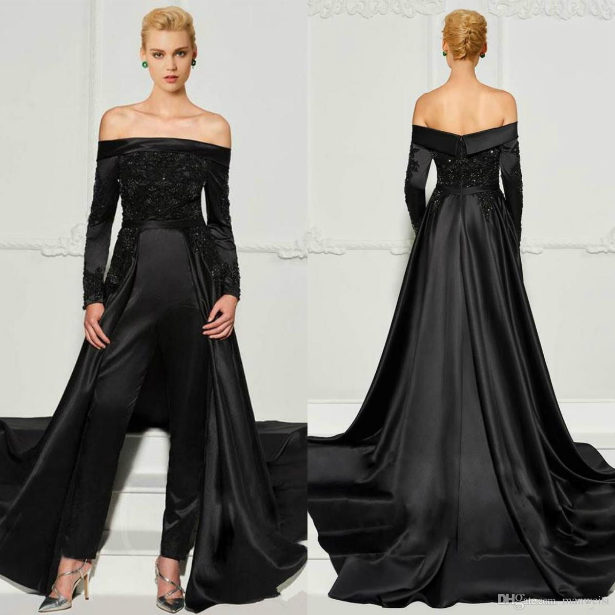 7d47d9652983e Fashion Black Lace Jumpsuits Evening Dresses With Detachable Train Off The  Shoulder Beaded Formal Gowns Long Sleeves Pant Suits Prom Dress Lace Evening  ...