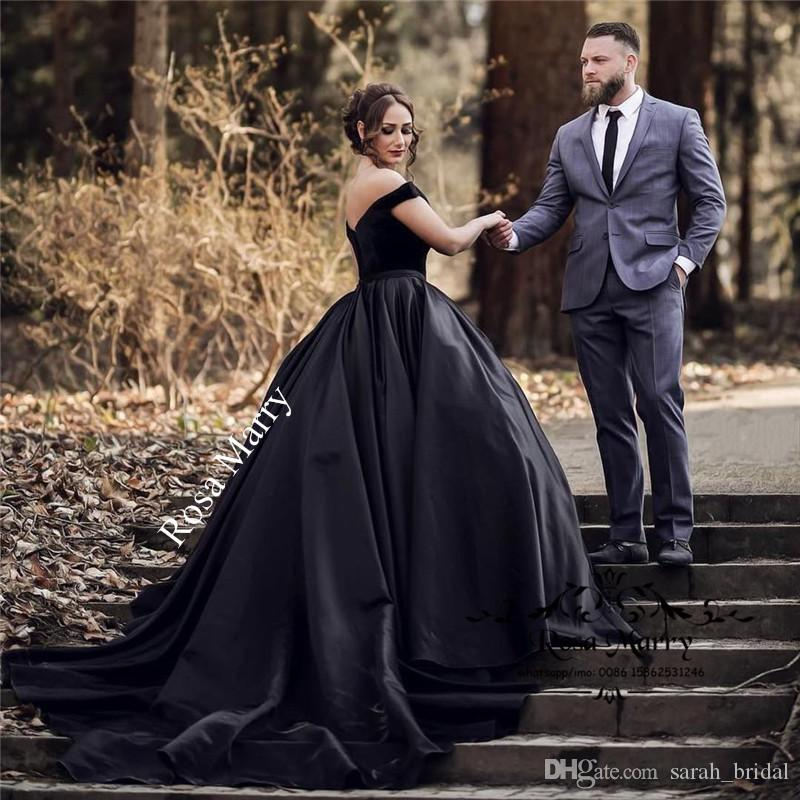 Gothic Black Satin Cheap 2018 Prom Dresses Ball Gown Off Shoulder ...