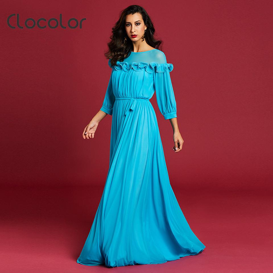 Acquista Clocolor Donna Maxi Dress Manica Lunga 2018 Blu Girocollo Manica A  Girocollo Falbala Pieghettato Patchwork Zipper Women Party Dresses A  42.78  Dal ... 8b5308f93db