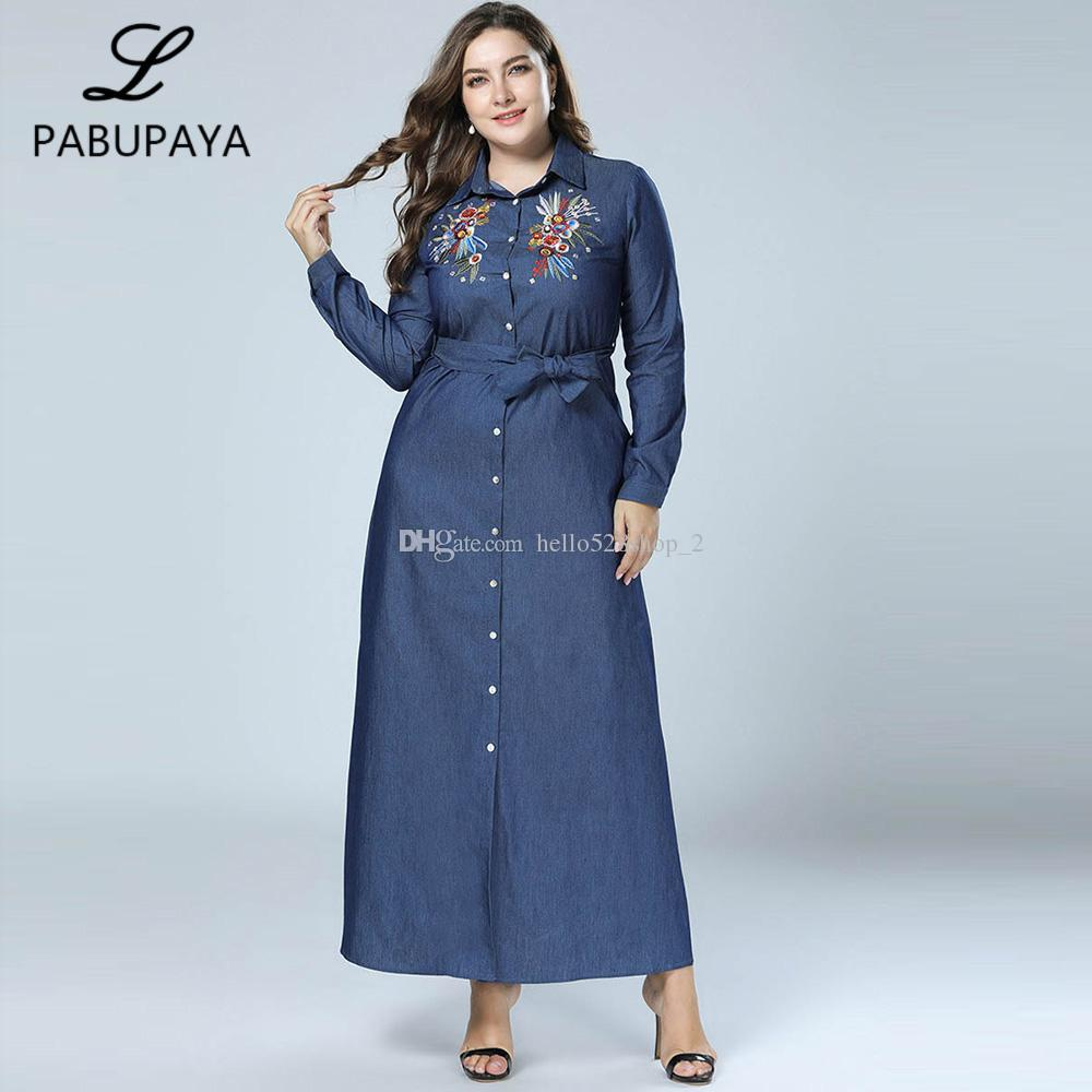c7c6596a23556d Großhandel Front Open Button Down Slim Fit Lange Kleider Womens Bestickte  Denim Kleid Formale Roben Muslime Abaya Maxi Kleid Von Hello528shop 2