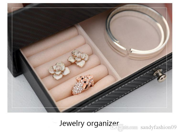 Jewelry storage Box High grade Arbon fiber leather Container Boxes watch box Casket drawer organizer watch jewelry box