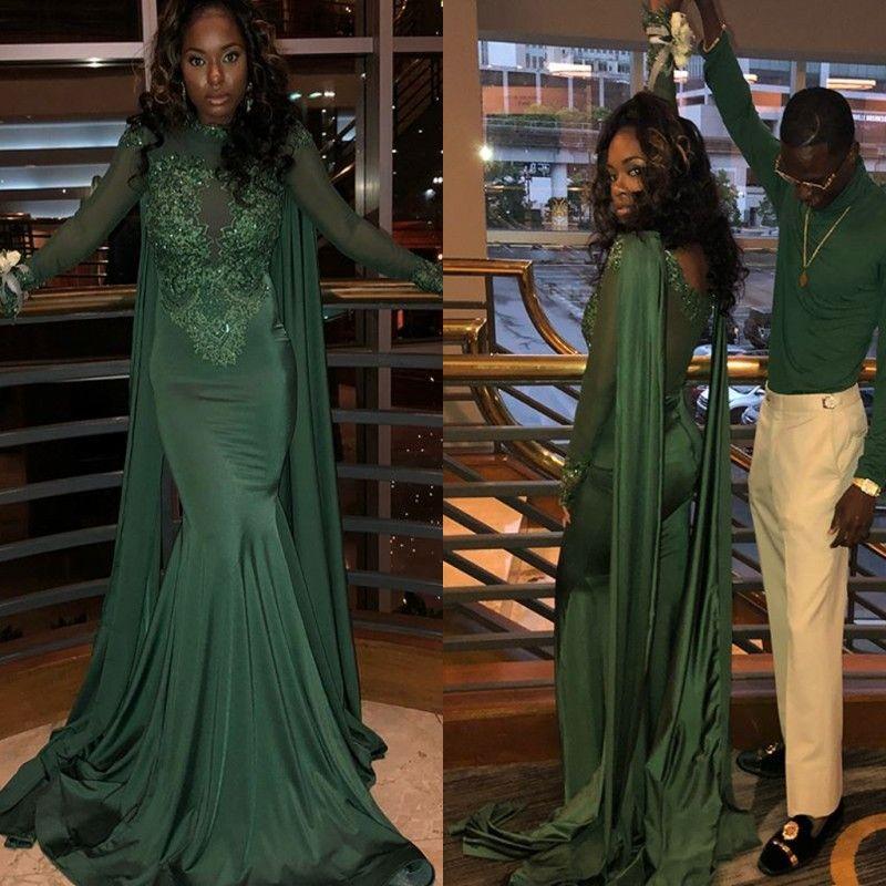 Dark Green Long Sleeve Prom Dress