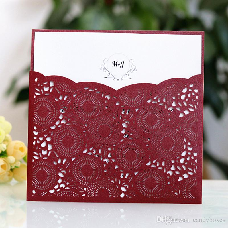 Burgundy Dark Blue Fall Winter Wedding Invitation Laser Pocket Marriage Greeting Card Customized Printing Multi Colors Free Ship Cards Online