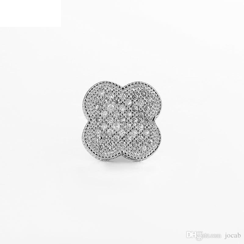 Toptan El Yapımı Takı DIY Aksesuarları Mikro Pave Rhinestone Yonca Çiçek Boncuk Bileklik Güzel Charm Spacer Boncuk Bulguları Gevşek Boncuk