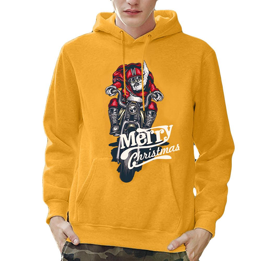 feitong Mens Christmas Sweatshirt Pullover Printed Long Sleeve Hooded Cheap fleece hoodies men Plus Size men cotton #Y35