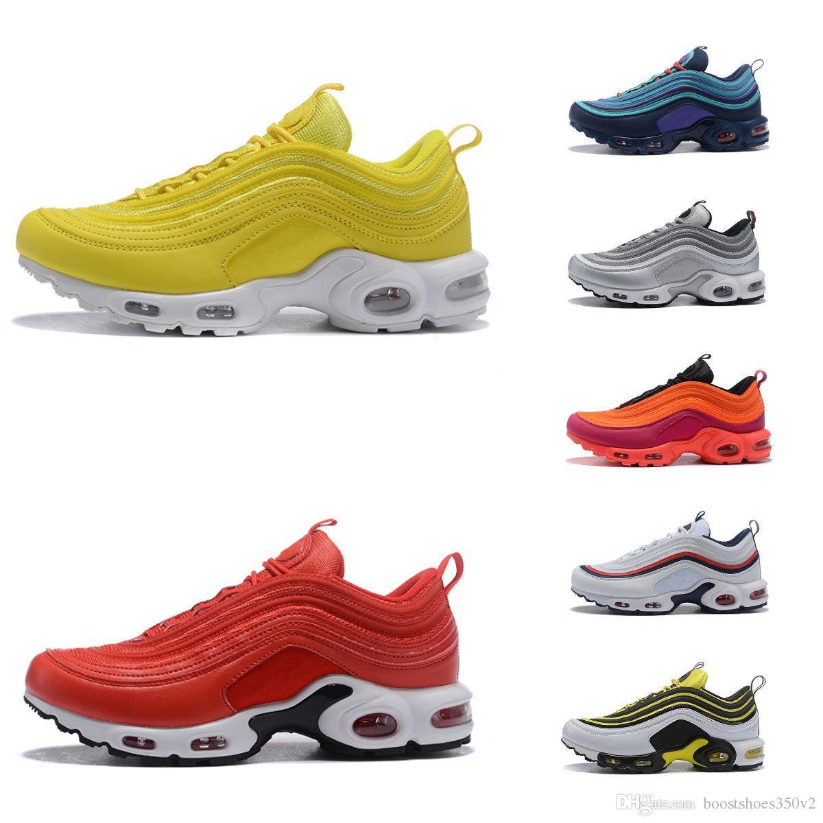 73b7d07160785 2019 TN Plus Running Shoes Black White Grey Red Yellow Blue Cushion  Trainers 97 TN Men Women Designer Shoes Size 36 46 Shoes For Men Mens  Running Shoes From ...