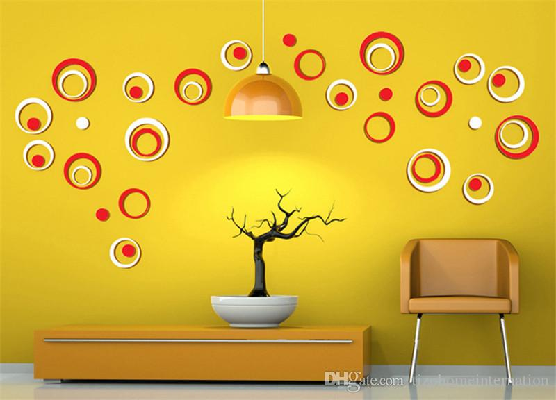 Wooden DIY Wall Sticker Home Decor Solid Round 3D Sticker For Wall Mural Adesivo De Parede Fashion Living Room Bedroom