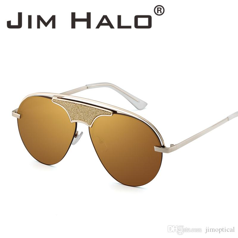 0baa0f99736 Jim Halo Semi Rimless Fashion Sunglasses Metal Flat Top Designer Eyeglasses  Tinted Men Women Half Frame Sun Glasses Round Sunglasses Retro Steampunk ...