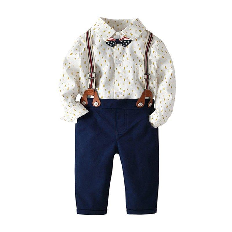 818d9983c Compre Bebé Recién Nacido Niños Ropa Para Niños Conjuntos Caballeros Estilo  Árbol De Navidad Impreso Camisa Romper + Pantalones + Correas + Corbata  Traje De ...