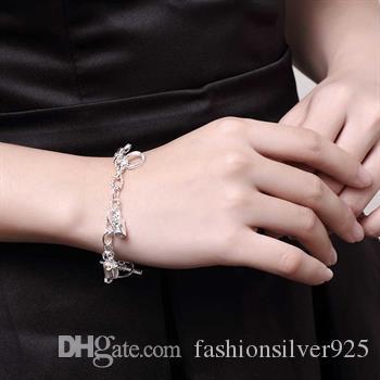 Groothandel - - retail laagste prijs kerstcadeau 925 zilver opknoping paard armband hoefijzer armband geometrische zilveren ketting armband H074