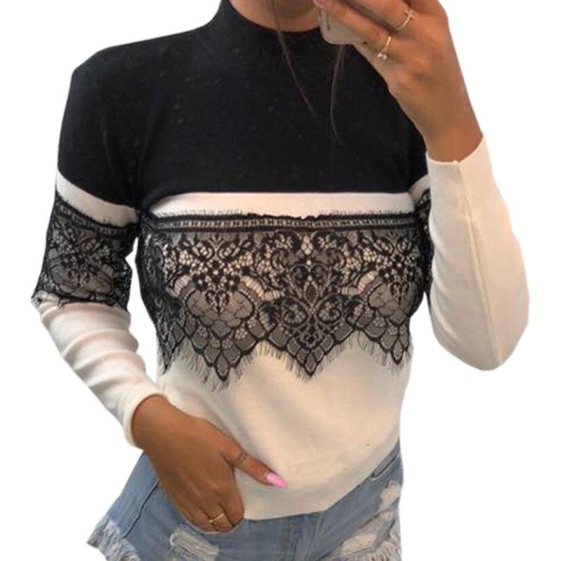 a56e960d7b63e Turtleneck Slim Sexy Lace Patchwork Women White Tees Winter 2019 Femme Long  Sleeve T Shirts Autumn Tops Tshirt Plus Size M0076 Nerd T Shirts Design  Shirt ...