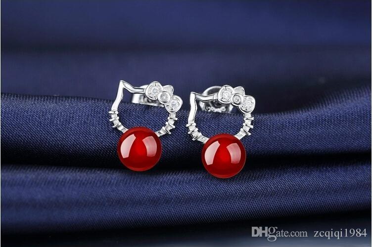 cute Austrian Crystal Halo Cat Stud Earrings For Women Agate Stud Earrings For Wedding Ladies Bohemian 925 Sterling Silver earring