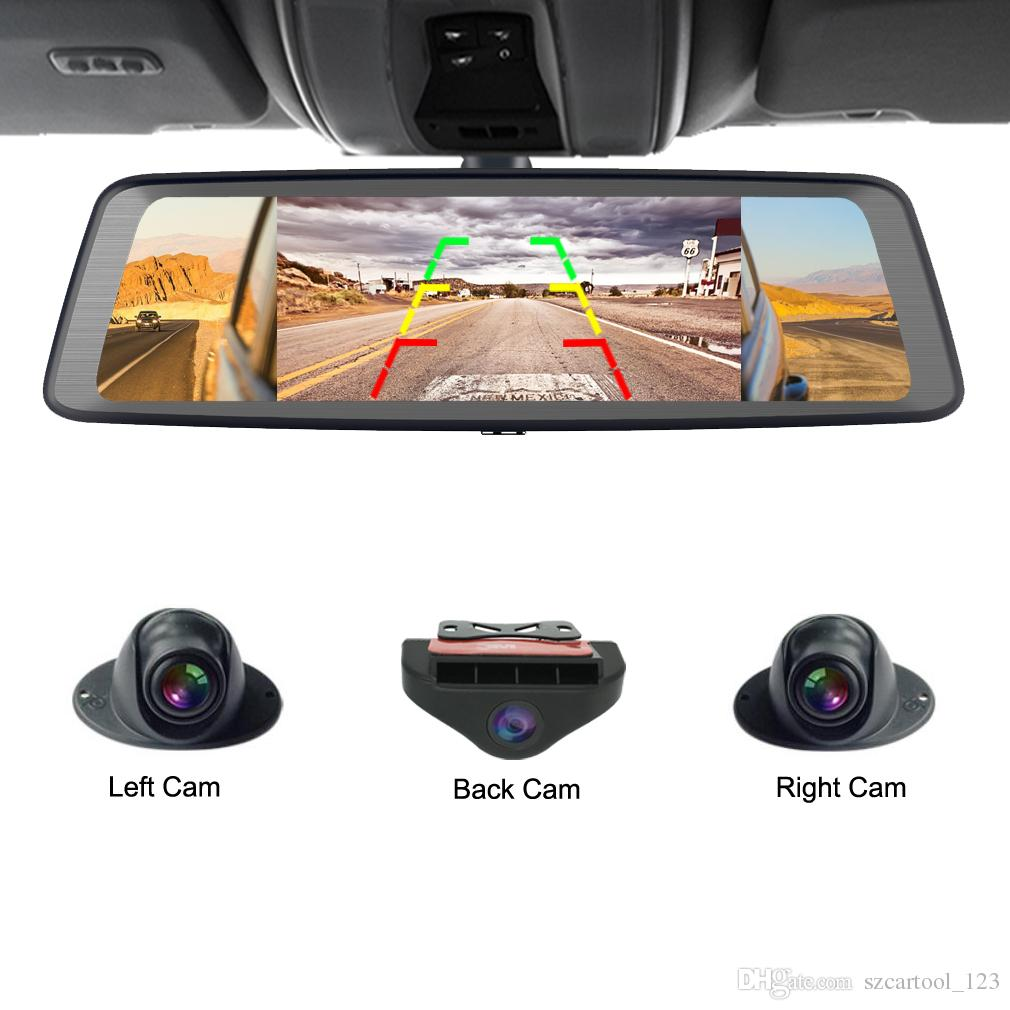 car dvr 360-degree panoramic 4CH Cameras lens dash cam 10 Touch Android gps  Navi car camera rear view mirror dvr drive recorder ADAS WIFI