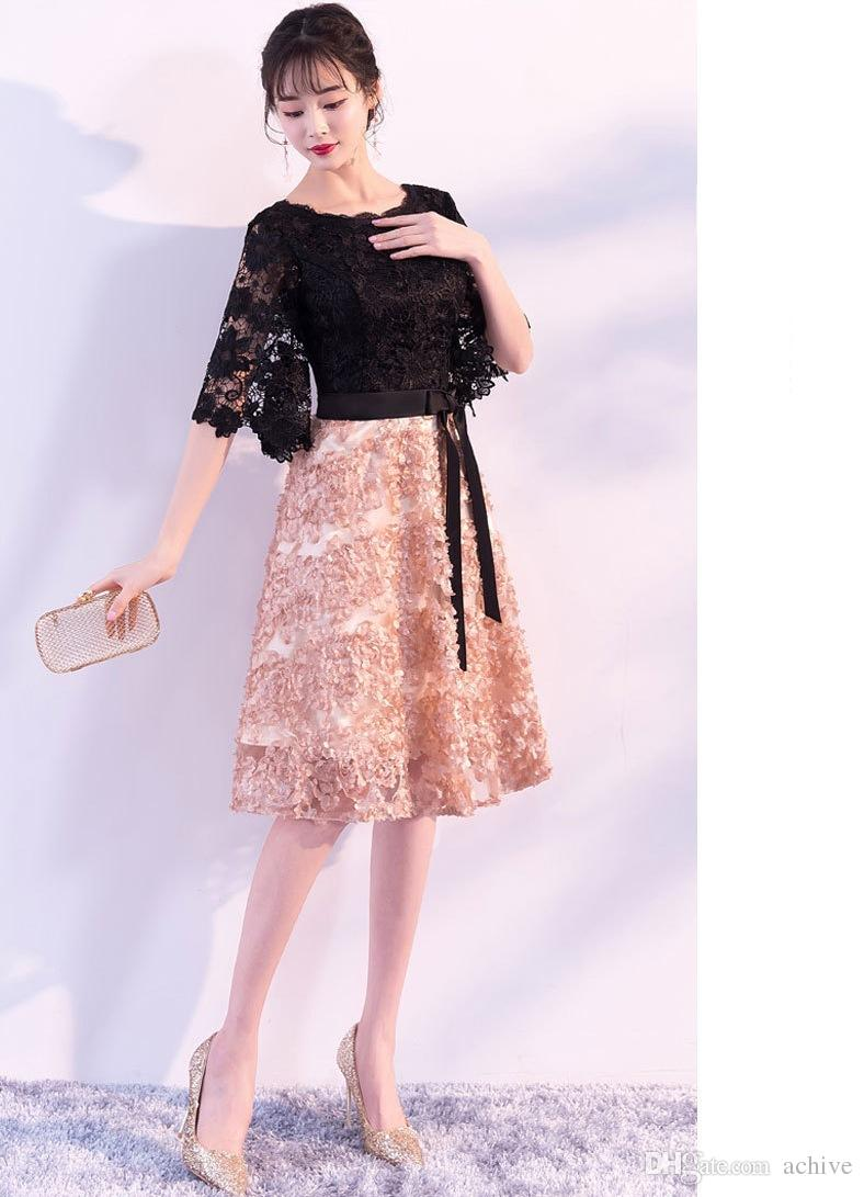 2e1654a807f5 Cute Cheap Homecoming Dresses In Stock 2018 Lace Bow Sash Short Prom Dresses  2018 With Half Sleeves Graduation Gowns Party Dress Dress Es Gothic  Homecoming ...