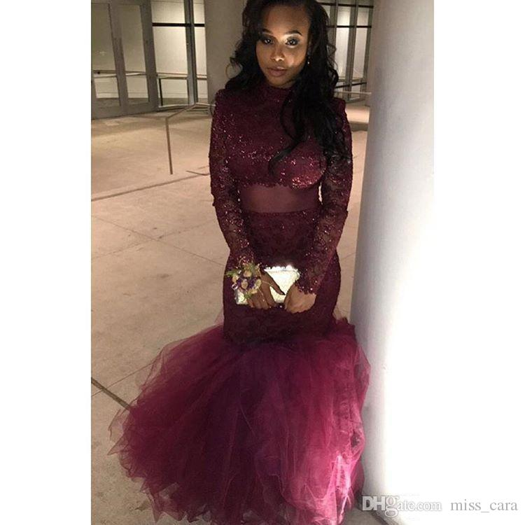 Sexy African Mermaid Prom Dresses 2018 Burgundy Lace Beaded Elegant Long Sleeves Party Dresse High Neck Evening Gowns