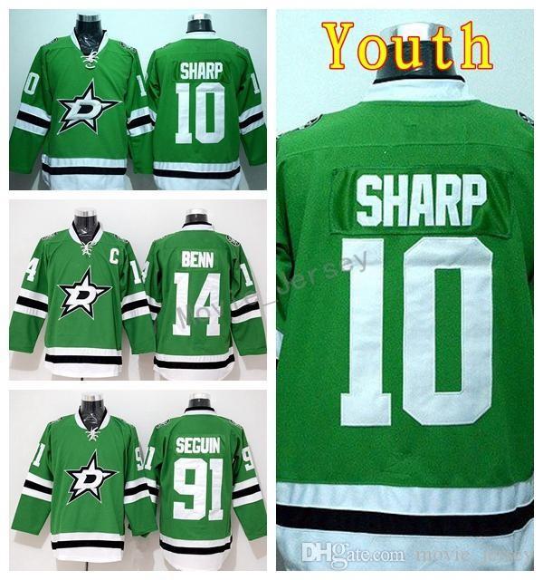 buy online 62329 08faf Youth Jamie Benn Jersey 14 Ice Hockey 10 Patrick Sharp 91 Tyler Seguin  Children Ice Hockey Jerseys Kid Team Color Green Embroider Logos