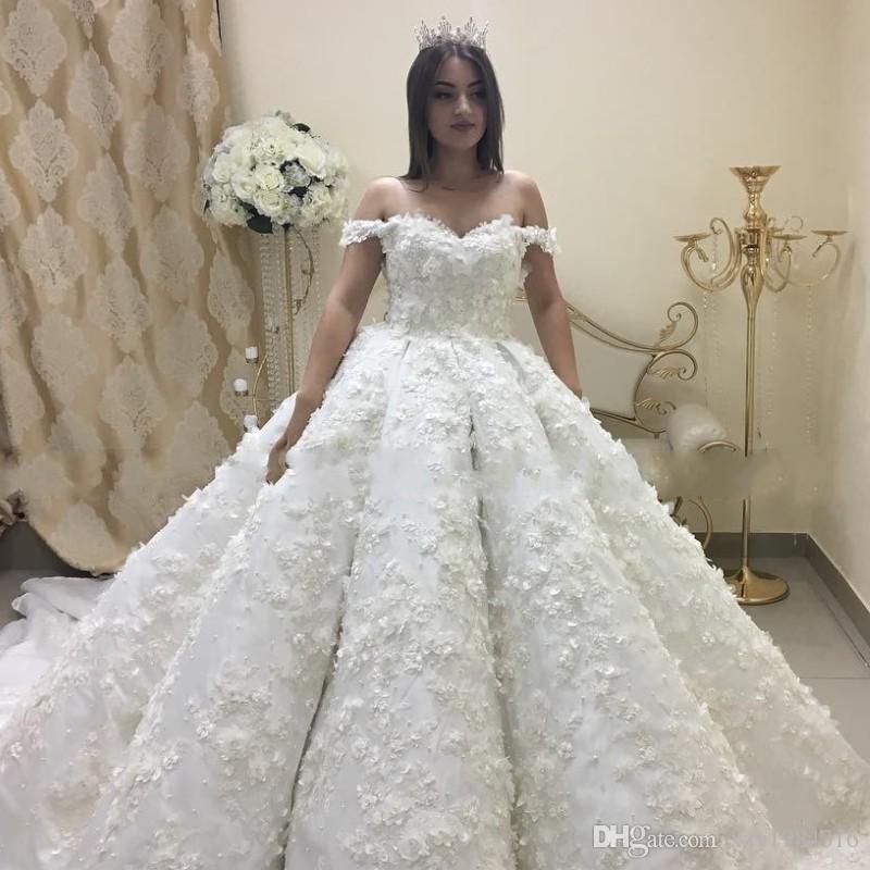 1789f576d64 Pearls Handmade Flowers Wedding Dresses Saudi Arabia Beads Lace Appliques  Ball Gown Bridal Dress Charming Dubai Plus Size Long Wedding Dress Ball Gown  Prom ...