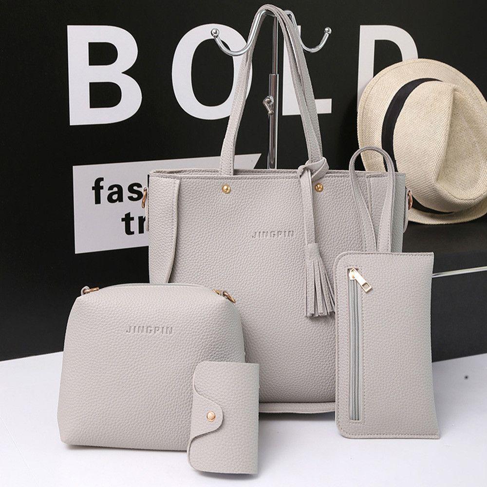 110ad035fb8 2019 2018 New Women Bags Set 3 Pcs Leather Handbag Women Large Tote Bags  Ladies Shoulder Bag Handbag Messenger Bag Purse Sac a Main
