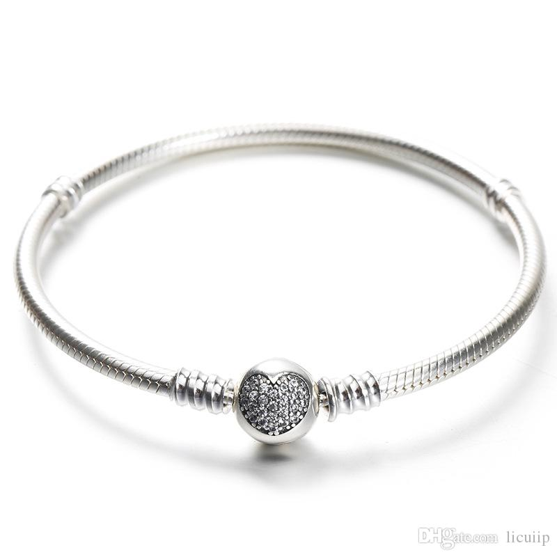 067cdbf80ce 925 Sterling Silver Bracelet With Original Box Fit Pandora Charms Beads  Pave CZ Heart Bracelets Fashion Real Silver Jewlery For Women Canada 2019  From ...