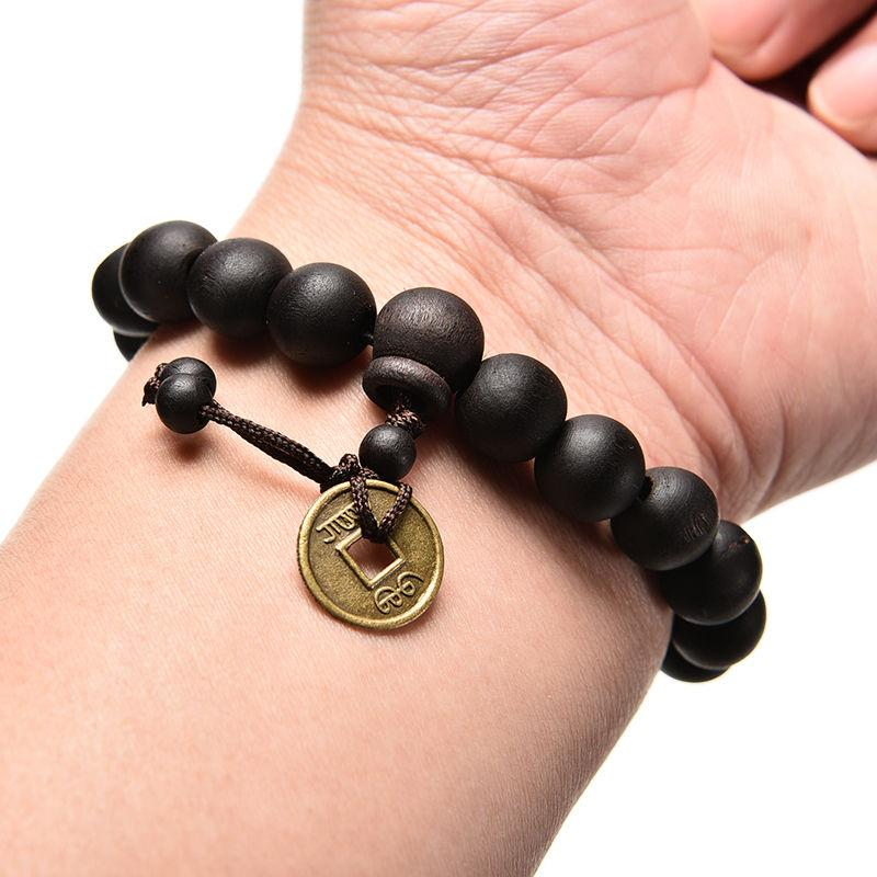 Wood Buddha Beads Religion Charm Buddhist Tibet Buddhist Prayer beads Bracelet Bangle Wrist Ornament Men Jewelry Tibetan Decor