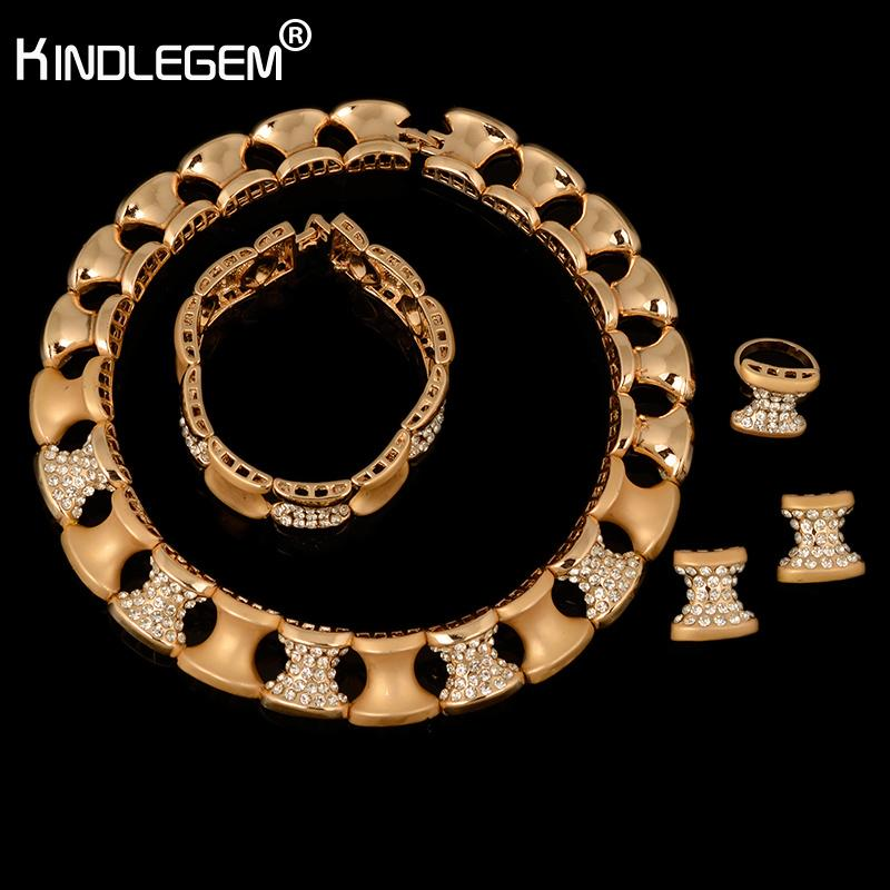 Kindlegem Luxury Wedding Dubai Africa Nigeria Jewelry Set Collana in argento color oro Orecchini donna romantica Set di gioielli da sposa