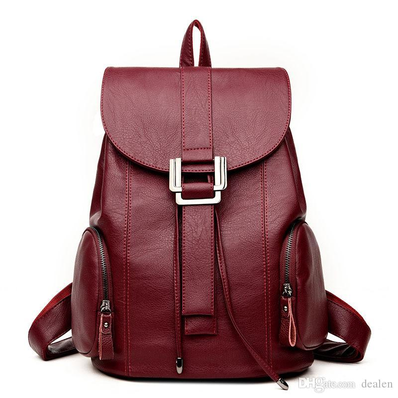 Fashion Women Leather Backpack Female Backpacks School Bags For Teenagers  Girls Daily Backpack Travel Shoulder Rucksack Feminina School Bags  Messenger Bags ... 7b042cdf355d3