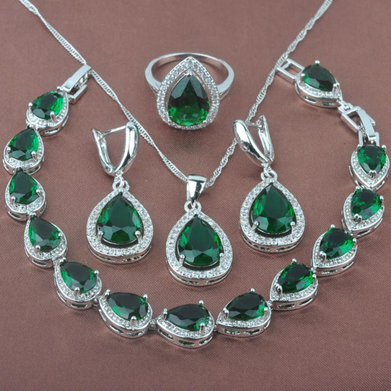 b72fce56c Women's Green Stone Zircon 925 Sterling Silver Jewelry Sets Necklace  Pendant Earrings Rings Bracelet Free Shipping YZ0106