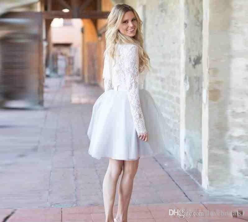 73819b881f92 Pequeños vestidos blancos Cortos Una línea Vestidos de Fiesta Cuello largo  Manga larga Lace Tulle simple Cóctel Viste Envío Gratis