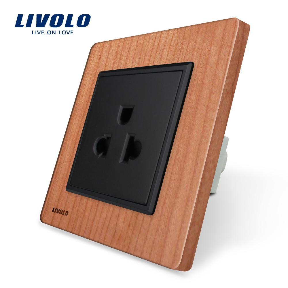 2018 Livolo Eu Standard Us Power Socket, Cherry Wood Panel, 16a Wall ...