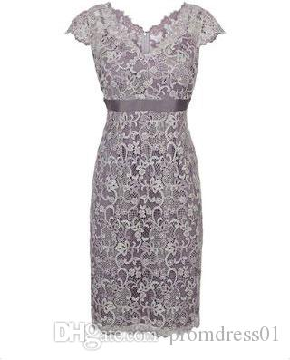 Lace V Neck Empire Knee Length Mother of the Bride Dresses for Wedding Party Mother of the groom Dresses