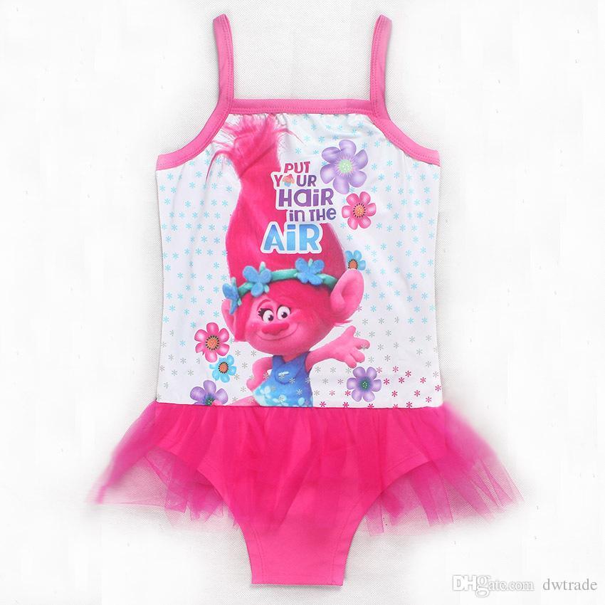 Magic Elf Trolls Girls Swimwear Movie Print One-Piece Tutu Skirt Pink Purple Summer Bikini Children's Beach Swim Clothes Baby Swimsuit