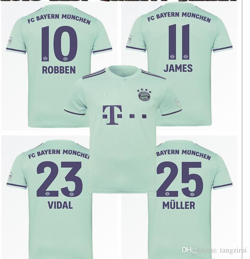 2019 2018 2019 Bayern Munich Away Light Green Jerseys JAMES VIDAL RIBERY  GOTZE SANCHES LAHM 18 19 LEWANDOWSKI MULLER ROBBEN BOATENG Sports Shirt From  ... 86d7ca44a