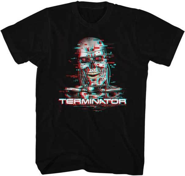 The Terminator 80's Movie Video Glitch Adult Camiseta cómoda camiseta Casual manga corta estampada 100% algodón