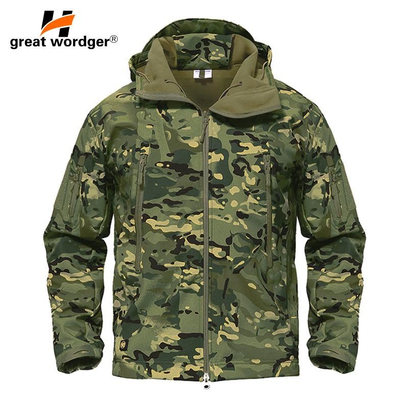 10410ee092f9 2019 Outdoor Tactical Camouflage Men Jacket Coat Military Army Jacket  Winter Waterproof Soft Shell Jacket Windbreaker Hunting Clothes From  Seahawks