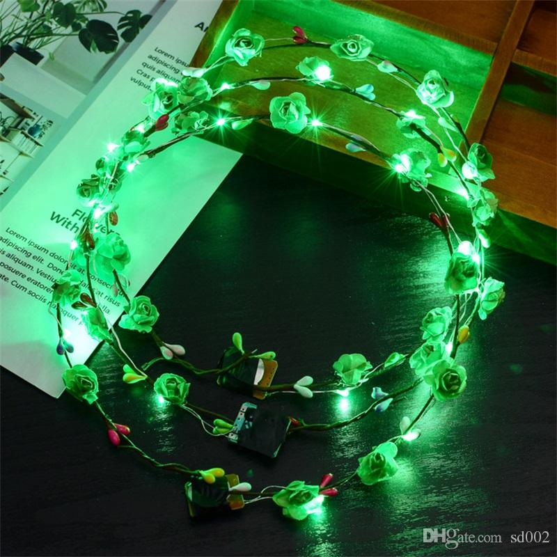 LED Işık Çiçek Çelenkler Bohemia Stil Düğün Parti Gelin Çocuk Şapkalar Dekor Glow Çiçek Taç Plaj Tatil Çelenk Sıcak Satış 2 6xf YY