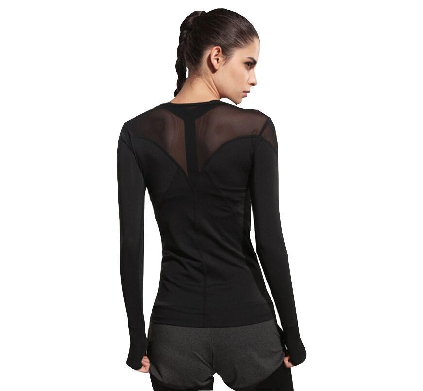 9da761b3 Mesh Patchwork Long Sleeves Yoga Shirt Sports T-shirt For Women Fitness  Workout Running T-shirts Yoga Gym Tops Sportswear XL